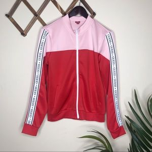 Guess Spellout Sleeve Zip Up Track Jacket